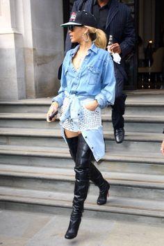 Rihanna, wearing Thigh-High Boots