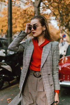 Checked blazer and high waisted trousers on PFW day 2