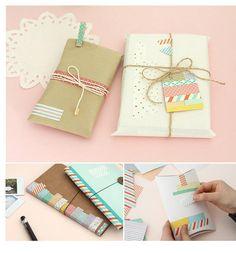 Envolver regalos usando washi tape gift wrapping embrulhar presentes