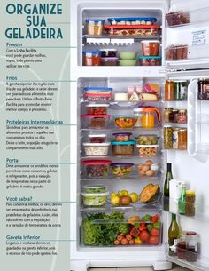 Como organizar a geladeira Fridge Organization, Organization Hacks, Organized Fridge, Personal Organizer, Home Hacks, Getting Organized, Kitchen Storage, Interior Design Living Room, Housekeeping