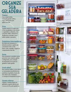 Como organizar a geladeira?   Estamos sempre tão preocupados em escolher alimentos saudáveis no dia a dia que nos esquecemos de como armaze...