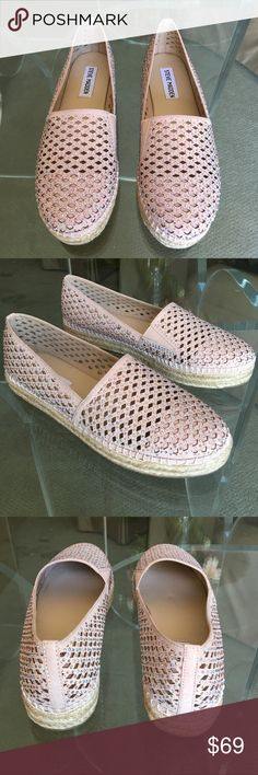 """Brand New W/Box Steve Madden """"Pretty"""" Espadrilles Glam it up in these sparkly Steve Madden platform espadrilles! Brand new with box, never been worn. Slip ons with rhinestone detailing, open weave upper, .75 inch platform, man made materials. Super cute slip ons for any occasion!  Steve Madden Shoes Espadrilles"""