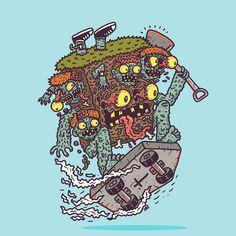 "1,203 Likes, 21 Comments - Hex Aunzo (@hexyeah) on Instagram: ""Graveyard Monster #illustration #doodle #cartoon #lowbrowart #lowbrow #zombie #horror #halloween…"""