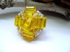 Autumn Gold Vintage Glass Brooch 1950s Fashion by kzannoart, $12.00