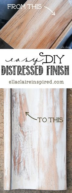Easy DIY Distressed Finished Shelf by Ella Claire Furniture Makeover, Diy Furniture, Office Furniture, Laminate Furniture, Building Furniture, Refinished Furniture, Furniture Refinishing, Painting Furniture, Furniture Design