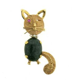 14K Gold Nephrite Pearl Ruby Cat Brooch Pin Featured in our upcoming auction on July 26!