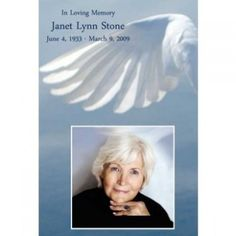 The Angel Wing (left) Memorial Funeral Card has a beautiful image of a white angel wing, as the backdrop to the picture of your loved one. Each card is printed and laminated to last a lifetime. #sympathy #gift #funeral