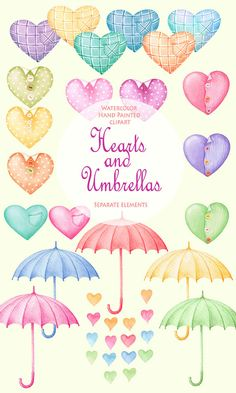Valentines day Watercolor Clipart - Multi-colored Hearts & Umbrellas - 37 separate elements High quality Hand Painted Graphics for decoration of wedding invitations, greeting cards, photos, albums and many other DIY projects. All images are 300 dpi, coloured and ready to use.