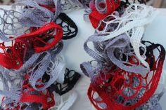 Red, Black, Grey, and White Ruffled Scarf - Premier Yarns Starbella - Collegiate