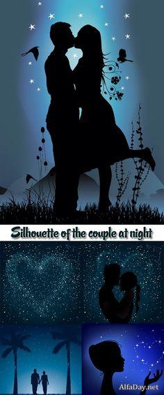 Силуэты влюбленной пары на фоне звездной ночи, любовь - векторный клипарт