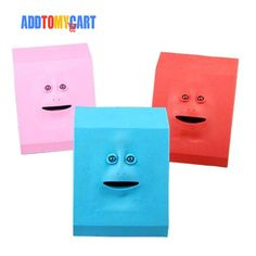 Fancy Creative Face Eating Money Piggy Bank Price: 11.98 & FREE Shipping #followme Funny Facial Expressions, Pink Blue, Red And Blue, Round Eyes, Save The Children, Soft Plastic, Light Sensor, Funny Faces, Piggy Bank