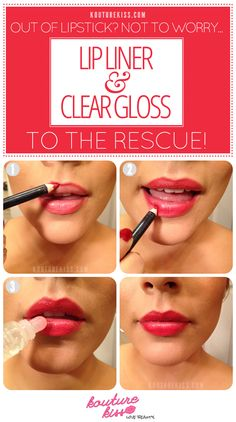 10 Creative And Useful Makeup Tutorials, Out Of Lipstick? Lip Liner + Clear Gloss To The Rescue!