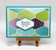 Geburtstagskarte mit Rauten – mit Produkten von Stampin' Up! Community Boards, Box, Stampin Up, Frame, Projects, Decor, Paper, Diamond Shapes, Packaging