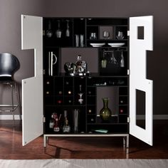 York Color-Blocked Bar Cabinet in Black and White, Black And White Finish With Stainless Steel Legs