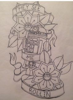 R2D2 tattoo--maybe not the ribbons//words