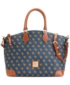 Contrasting logo print perks up a classic satchel silhouette finished with rich leather trim. Spacious with plenty of pockets, an optional, adjustable shoulder strap offers versatile styling. From Doo