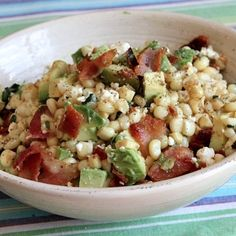 Bacon, Avocado And Corn Salad. Not sure what this will taste like but in a weird way it sounds good..I love corn, so going to give it a try!