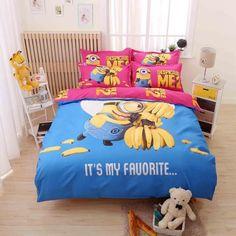 Cartoon Bedding Set 4pcs Printing Cama Minions Bedclothes Duvet Cover Bed Sheet Children Kids Comforter Bedding Sets Bed Linen