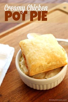Easy dinner recipe for Creamy Chicken Pot Pie with NO cream of anything soup! | 5DollarDinners.com