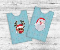 Printable Christmas Gift Card holders. Set of two DIY gift card envelopes, Santa Clause and Rudolph heads. #sleeve #envelopes #christmas #santa #rudolph #holiday #envelopes #giftcard #holder #holiday