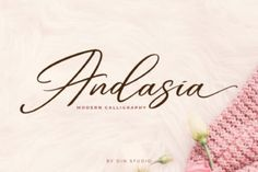 Andasia is a beautiful and calm handwritten font with a classic feel. Get inspired by its timeless appeal! Handwritten Script Font, Calligraphy Fonts, Typography Fonts, Lettering, Modern Calligraphy, Cool Fonts, New Fonts, Awesome Fonts, Identity