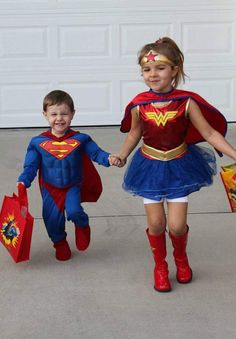 brother sister superheroes halloween costumes dani cash 2013 - Halloween Costume For Fat People