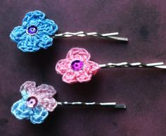 Check out this item in my Etsy shop https://www.etsy.com/ca/listing/269572844/crochet-flower-hair-pins-pink-blue