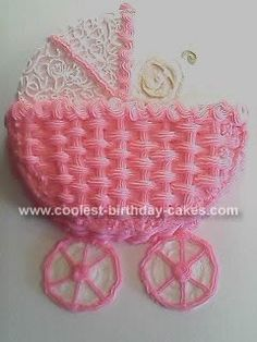 Coolest+Homemade+Pink+Basket-Weave+Baby+Carriage+Cake