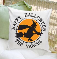 Add some personalized fun to your home decor with our Happy Halloween Throw Pillow.