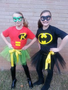 my homemade batman and robin costumes i did for my girls