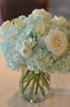 Sky blue and ivory bouquets