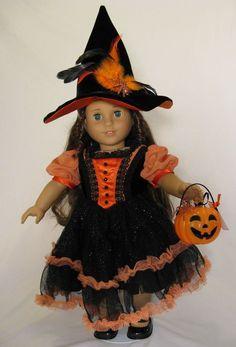 Ooak Halloween Witch Costume for American Girl Isabelle, Caroline, Samantha