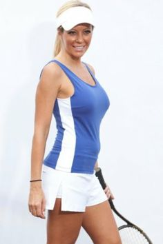 Center Court: Champion Tennis Tank: Navy sport Blue with white side inserts Show No Love Tenniswear. $26.40