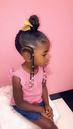 Little Girls Natural Hairstyles, Toddler Braided Hairstyles, Lil Girl Hairstyles, Black Kids Hairstyles, Natural Hair Styles For Black Women, Braids For Kids, Girls Braids, Hair Masks For Dry Damaged Hair, Kid Braid Styles