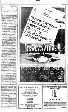 Salvavidas desea un feliz Día de las Secretarias. Publicado el 30 de septiembre de 1984.