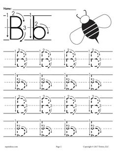 FREE Printable Letter B Tracing Worksheet With Number and Arrow Guides! Handwriting Worksheets For Kindergarten, Free Printable Alphabet Worksheets, Letter Worksheets For Preschool, Abc Worksheets, Printable Letters, Preschool Alphabet, Alphabet Crafts, Handwriting Practice, Letter B Activities