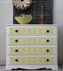 Chez Sheik Allover Furniture Stencil by Royal Design Studio- want my pantry to look like this
