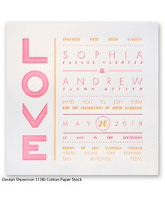 Typography Love Letterpress Wedding Invitation by David's Bridal