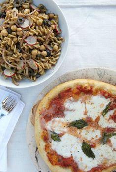 Margherita pizza with pesto pasta salad recipe.