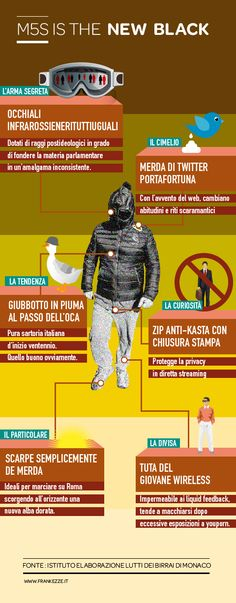 Infografica franka del giubbotto di Bebbe Grillo