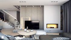 Aranżacje wnętrz - Salon: DOM JEDNORODZINNY D11_2015 / TARNOWSKIE GÓRY - Średni salon z jadalnią, styl minimalistyczny - A2 STUDIO pracownia architektury. Przeglądaj, dodawaj i zapisuj najlepsze zdjęcia, pomysły i inspiracje designerskie. W bazie mamy już prawie milion fotografii!