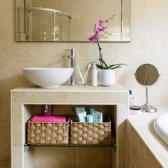 Use a tiled vanity to house baskets
