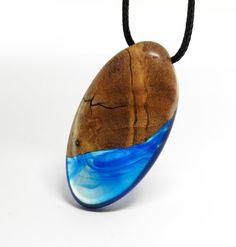 Wood Resin Pendant Olive Wood Blue by MASSIVART on Etsy