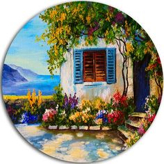 DesignArt 'House Near Sea Oil Painting' Oil Painting Print on Metal Size: Circle Painting, Wood Painting Art, Oil Painting Abstract, Stone Painting, Painting Prints, Art Oil Paintings, Circle Canvas, Circle Metal Wall Art, Mini Canvas Art