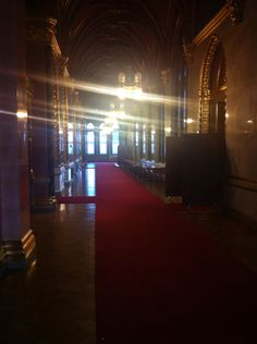 A corridor outside the chamber in the Parliament building