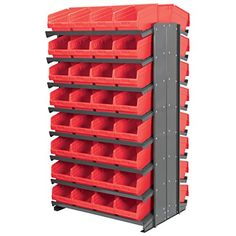 "[+1]  Akro-Mils APRD080R 2-Sided Pick Rack with 64 ShelfMax, 12"", Gray/Red"