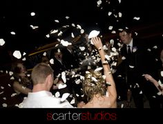 rose petal exit from wedding reception