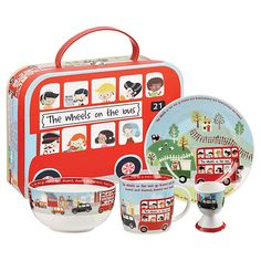 Bring breakfast time to life with this beautifully illustrated 4-piece breakfast set complete with a vintage style carry case from the Churchill China 'Little Rhymes Collection'. Available at London Transport Museum.
