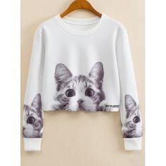 33db8f657a Casual Pullover Harajuku Fashion Crop Tops Round Neck Long Sleeve Ladies  Cat Short Cropped Sweatshirt from Empayar Tamingsari
