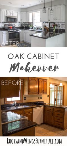 How to paint oak kitchen cabinets white without bleed through.  The best way to paint and prime cabinets so they last.  Makeover by Roots and Wings Furniture.